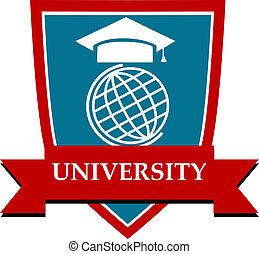 University emblem with a mortarboard cap over a globe ...