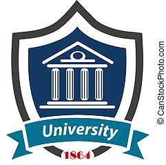 University emblem with a shield enclosing an academic ...