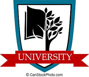 University emblem with a shield enclosing a tree and book depicting learning with a red ribbon banner with the text University