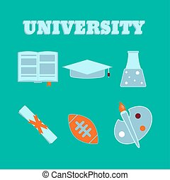 University flat icons. Set of college items. Isolated high school education icons.  Vector illustration.