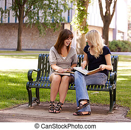 University Girls Studying Outdoors