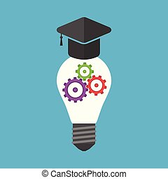 University hat na light bulb with colorful gears inside isolated on blue background. Innovation, idea and insight concept. Flat design. Vector illustration. EPS 8, no transparency