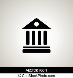 University Icon Isolated on gray Background. Vector...