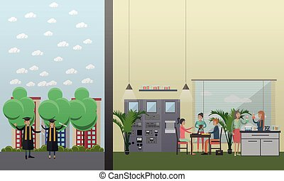 University laboratory, graduation vector illustration in flat style