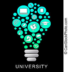 University Lightbulb Means Power Source And Academy