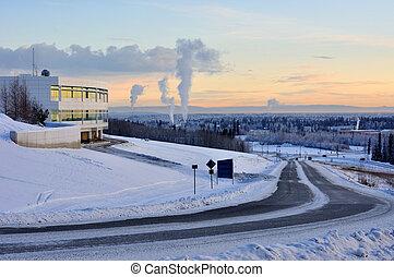 University of Alaska Fairbanks, and the city of Fairbanks in the winter at sunset