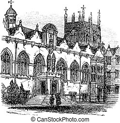 University of Oxford or Oxford University in Oxford, England, during the 1890s, vintage engraving. Old engraved illustration of University of Oxford.