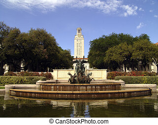University of Texas at Austin fountain in foreground with...