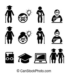 University of the Third Age, Senior - U3A vector icons set, ...