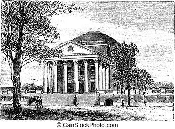 University of Virginia, in Charlottesville, Virginia, USA, vintage engraving
