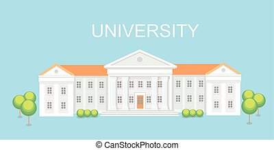 University or college building. Campus design, graduation university, vector