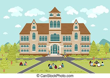 University or college building. Education student, flat...