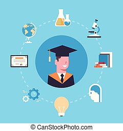 University Or College Graduation Concept Student In Cap And Gown Over Education Icons