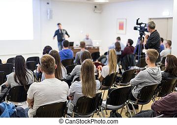 university., profesor, vestíbulo, conferencia, dictar una conferencia
