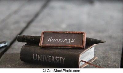 university rankings concept, vintage style. - University...