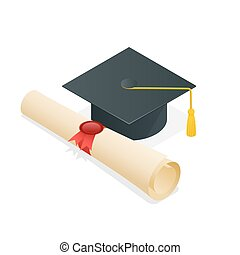 University student cap mortar board and diploma with official stamp and ribbon. Flat style illustration.