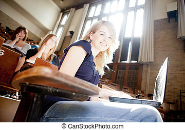 University Student in Class - Students in a lecture hall...