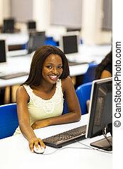 university student in computer room