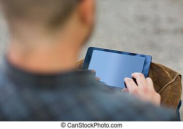 University Student Touching Digital Tablet