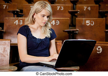 University Student with Computer