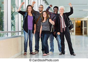 University Students Cheering with Professor