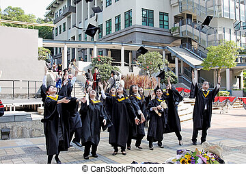 University students graduate with happiness