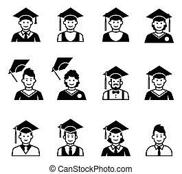 University students graduation avatar. Girl and boy...