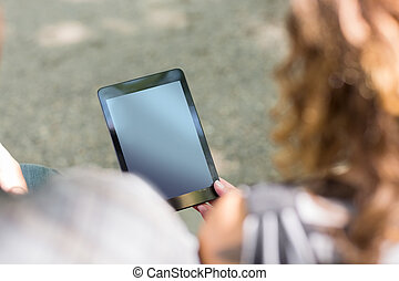 University Students Holding Digital Tablets