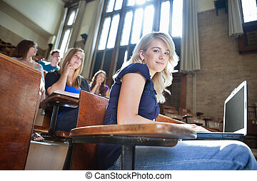 University Students in Lectuer Hall - Portrait of college...