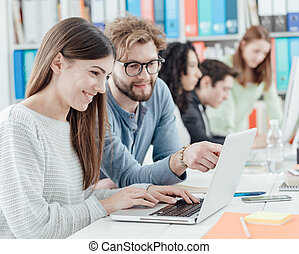 University students studying together