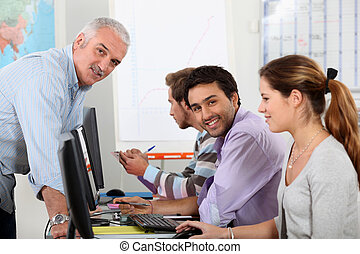 University students working at computers