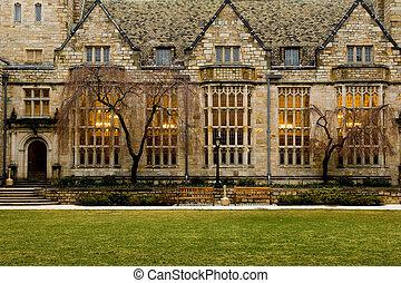 university - University campus at evening, New Haven,...