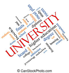 University Word Cloud Concept angled with great terms such as tuition, study, student, major and more.
