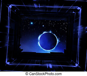 universo, mina, ver, lata, tu, nave espacial