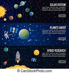 universo, set, bandiera, colorato, spazio