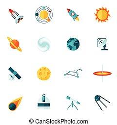 universo, set, spazio, appartamento, icona