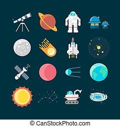 universo, set, spazio, colorato, icona