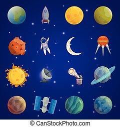 universo, set, spazio, icona