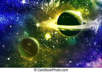 universum, galax, nebulosor, stjärnor, och, planet