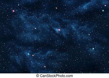 universum, gefüllt, sternen