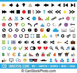 uniwersalny, komplet, ikony