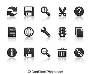 uniwersalny, software, ikony