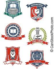 uniwersytet, kolegium, akademia, ikony