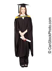 uniwersytet, pełna długość, samica, absolwent