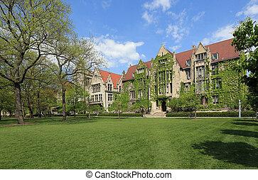uniwersytet, pociągający, campus