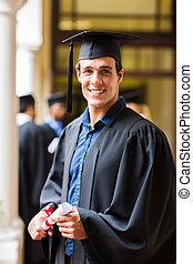 uniwersytet, przystojny, absolwent