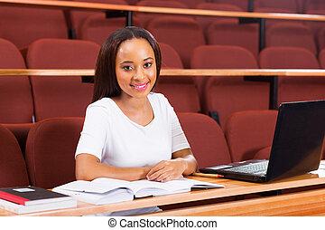 uniwersytet, samiczy student, afrykanin