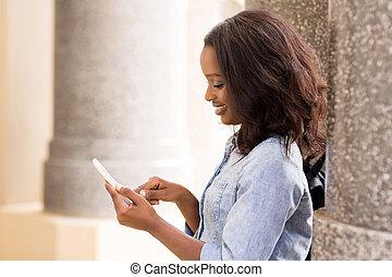 uniwersytet, texting, telefon, student, afrykanin, mądry