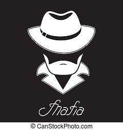 Unknown bearded man in a hat. Mafia hand lettering. -...