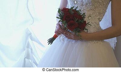 Unknown bride in luxury wedding dress